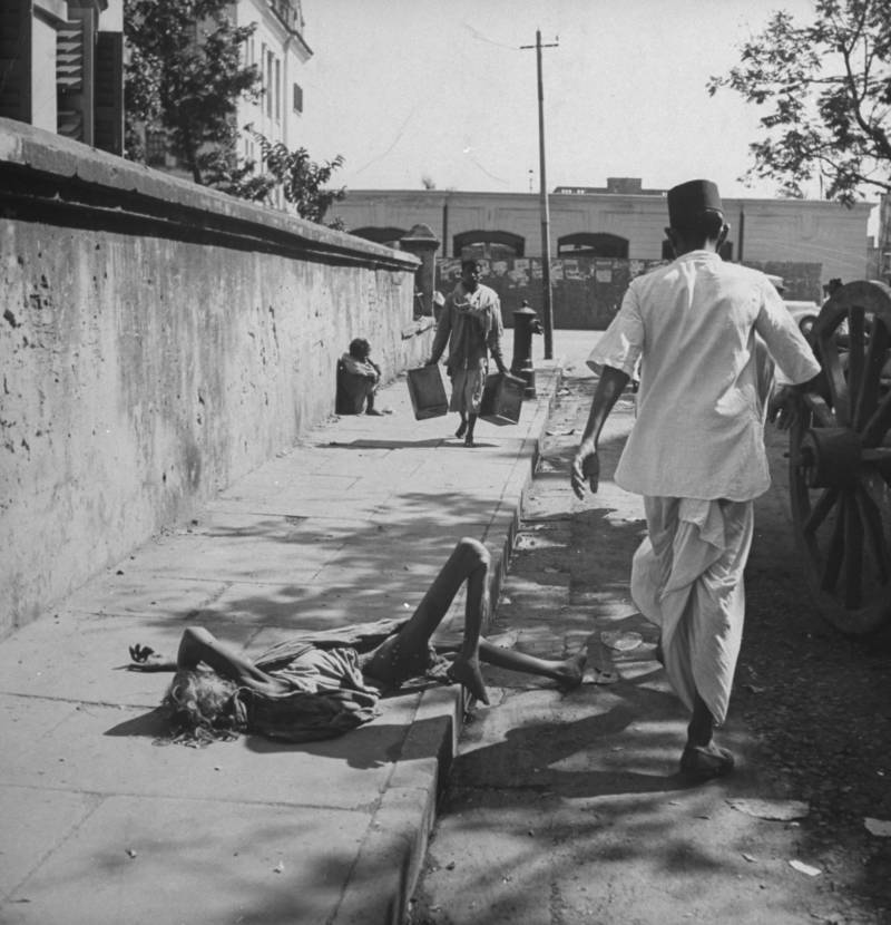 Starving Bengali woman on roadside