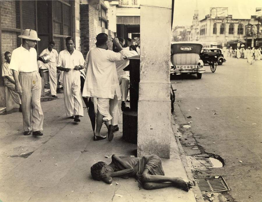 Starving woman on streets of Calcutta