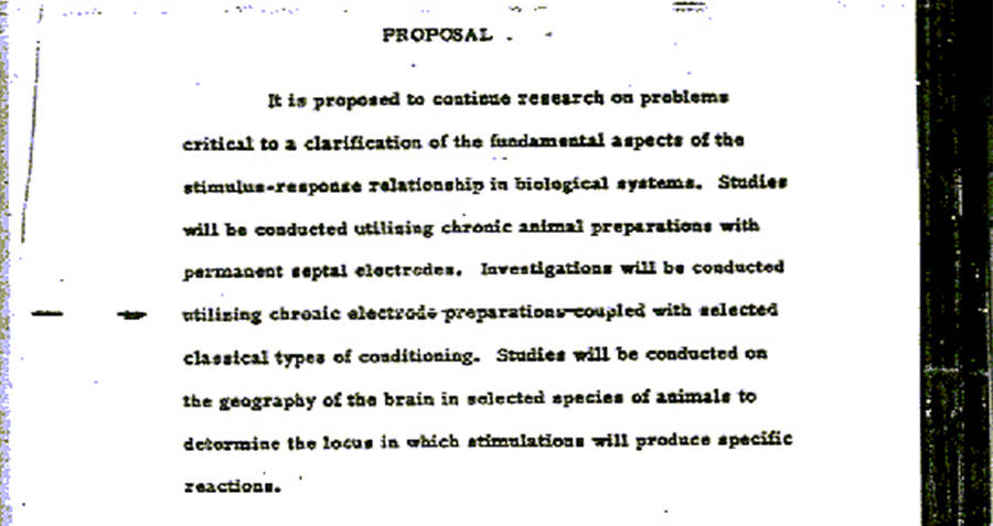 Project MKUltra mind control experiments proposal