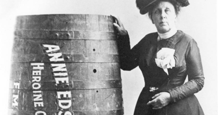 Annie Taylor stands with a barrel