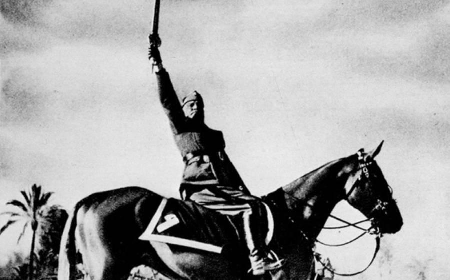 Benito Mussolini On Horse