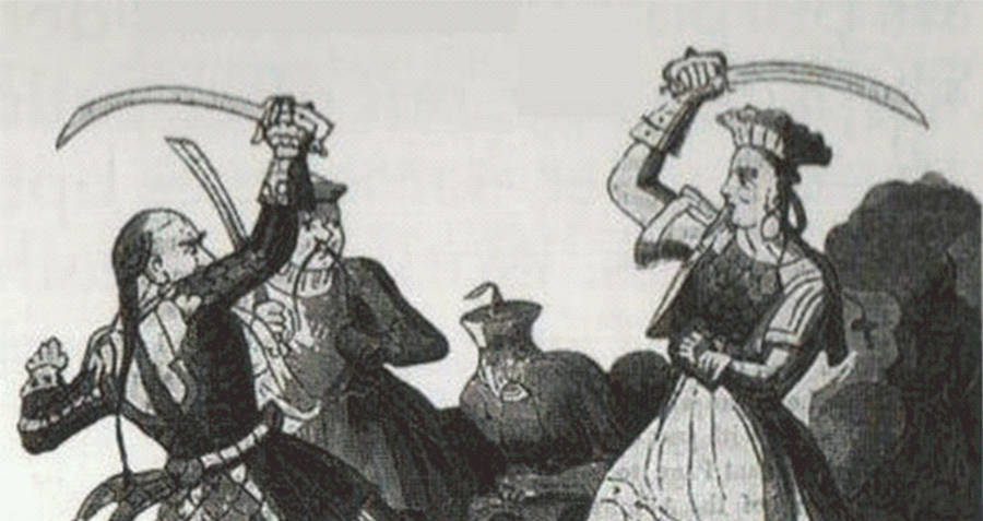 A drawing of Ching Shih in a pirate sword fight