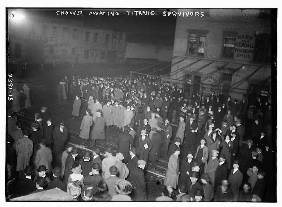 Crowd Awaits Titanic Survivors