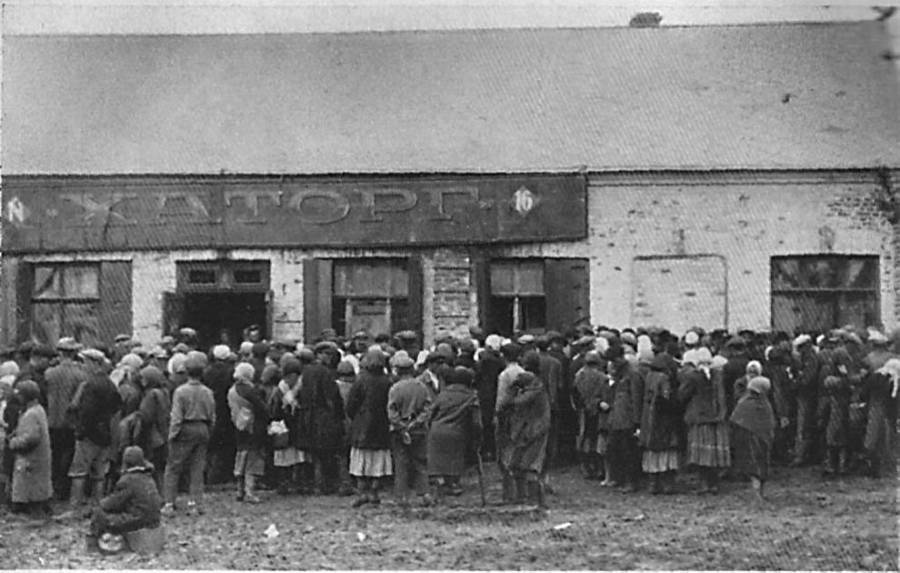 Crowd Lining Up During Holodomor
