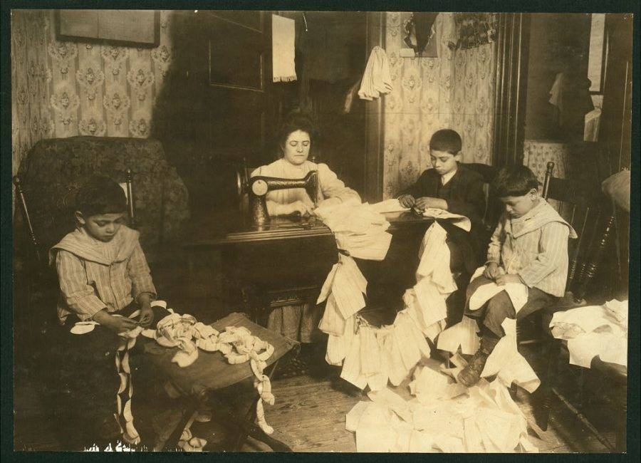 Family Sewing Together