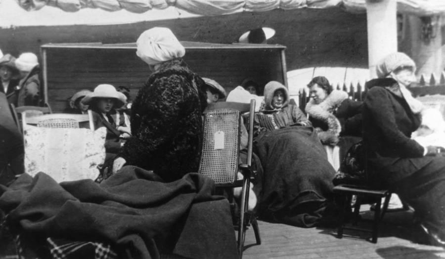 Huddled Survivors After The Titanic Sinking