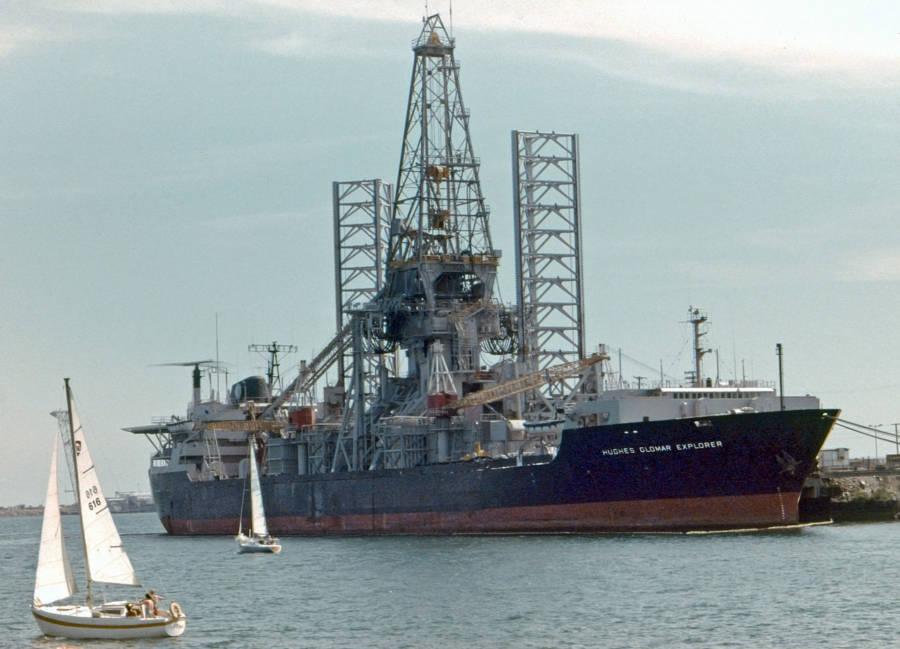 Hughes Glomar Explorer docked