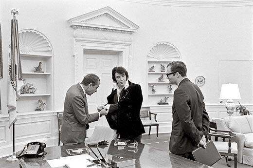 Nixon Checking Out Elvis' Cufflinks