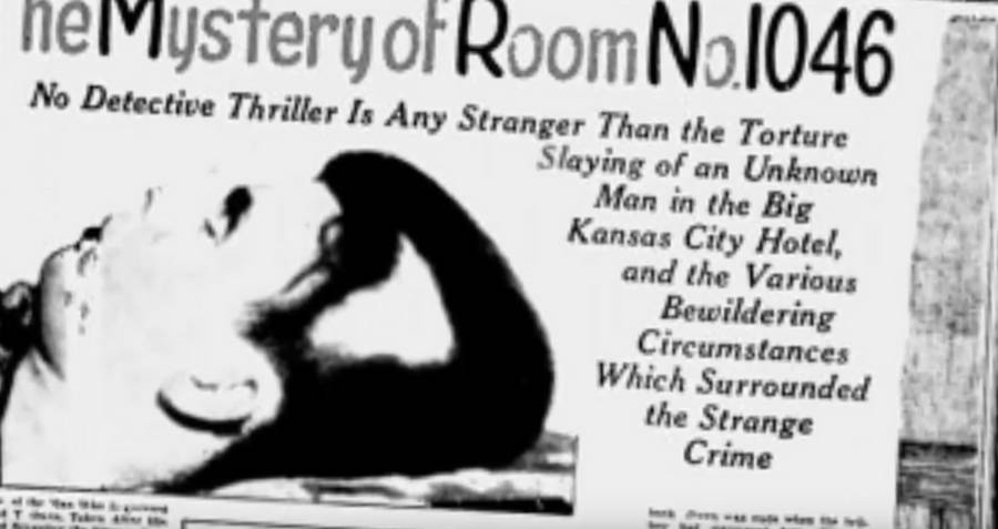 Newspaper reporting on the room 1046 murder.