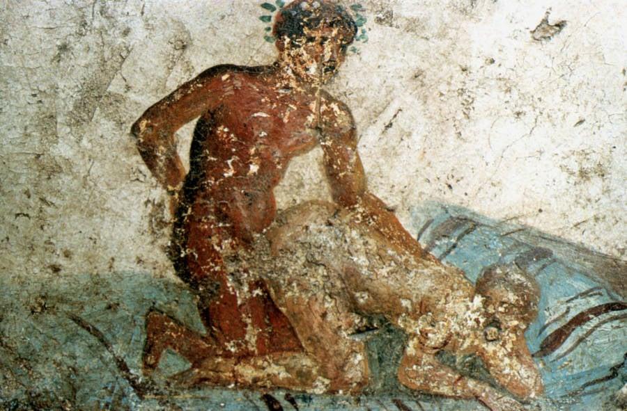 Erotic mural from Pompeii