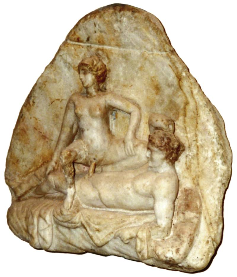 Pompeii erotic art with man having sex with a woman