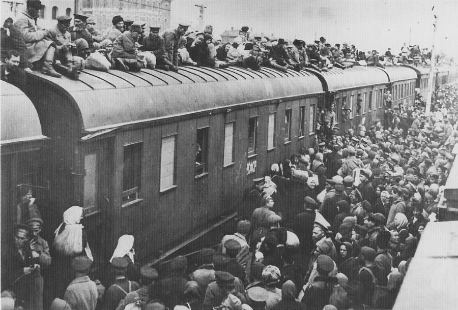 Refugees On Train Roof
