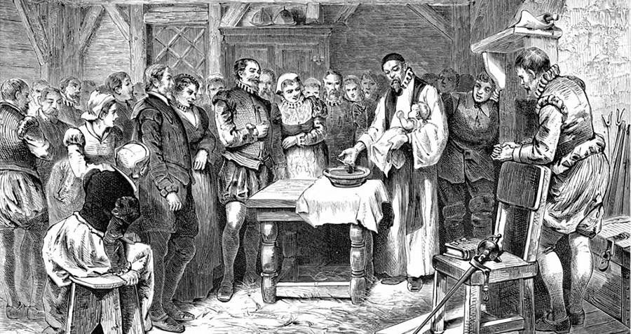 Baptism Of Virginia Dare At Roanoke Colony
