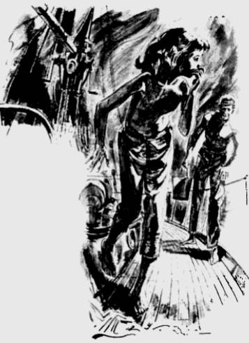 Drawing of Terry Jo Duperrault on deck