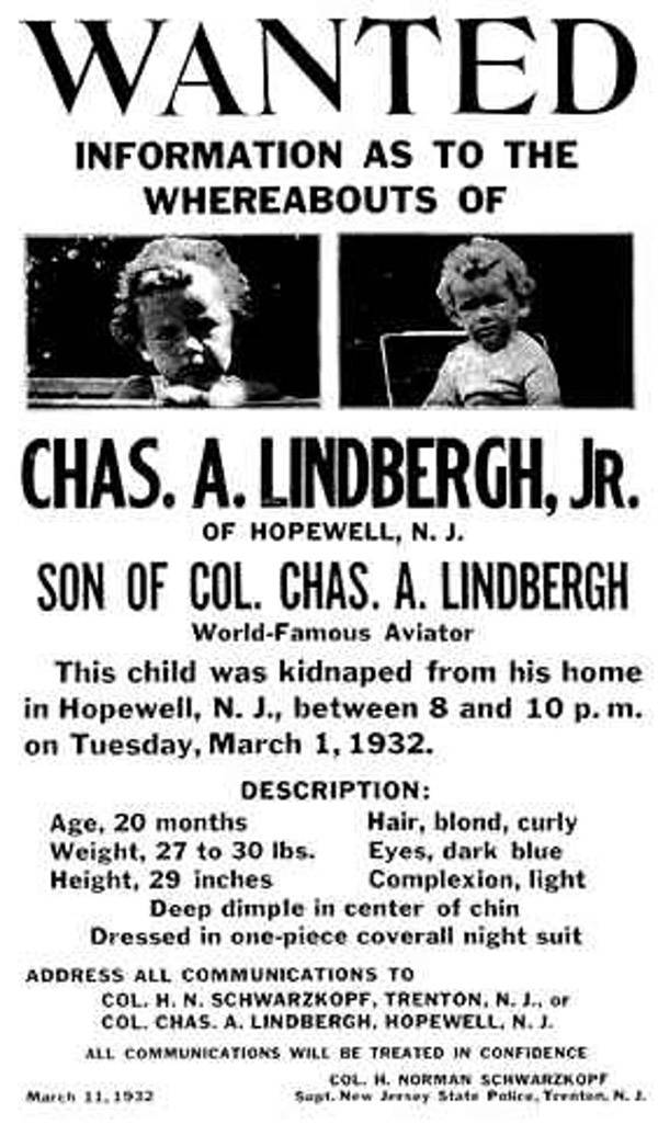 Wanted Poster For Lindbergh Baby