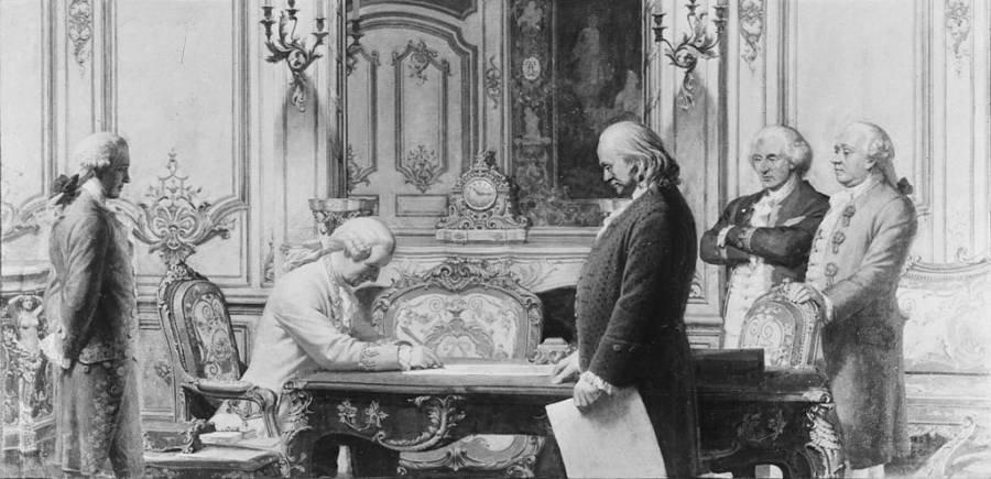 Ben Franklin Signing Treaty