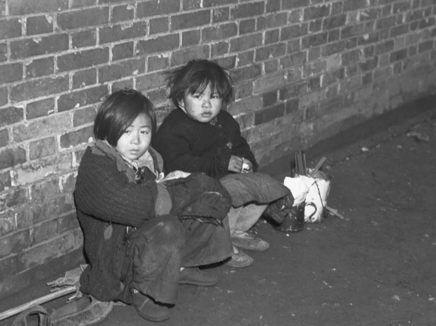 Children Against Wall During Chinese Civil War