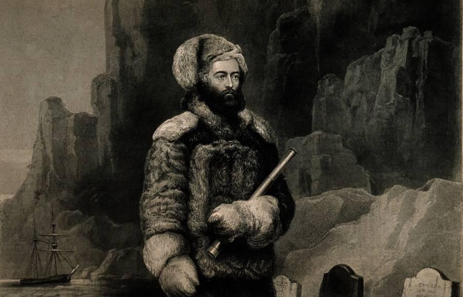 Drawing of Elisha Kane in the Arctic