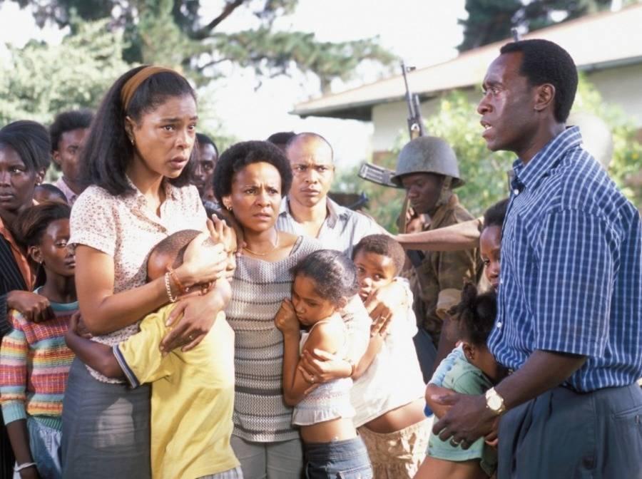 Don Cheadle as Paul Rusesabagina in Hotel Rwanda.