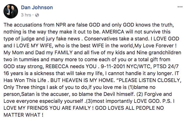 Dan Johnson suicide note