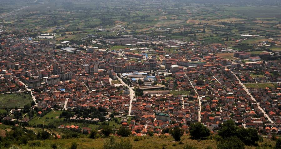 Aerial view of Kicevo, Macedonia