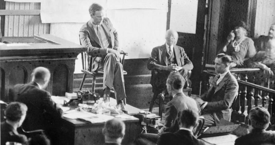 Charles Lindbergh testifying at Richard Hauptmann's trial