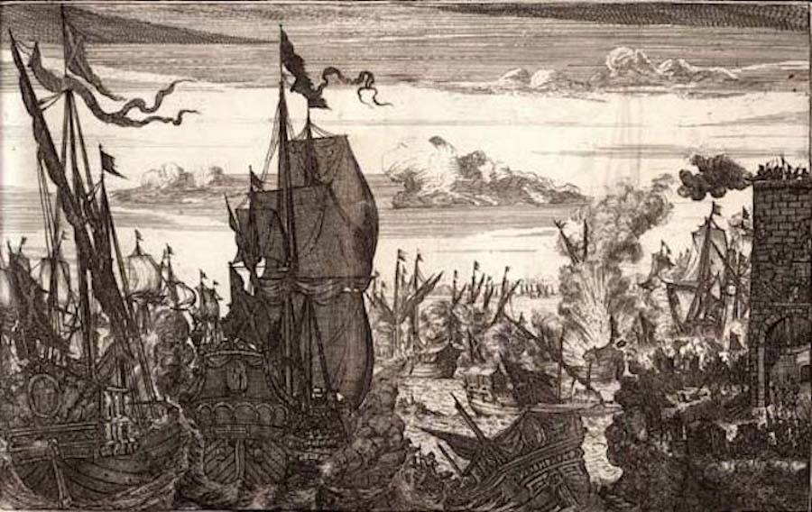 Captain Henry Morgan Attacks Spanish Fleet