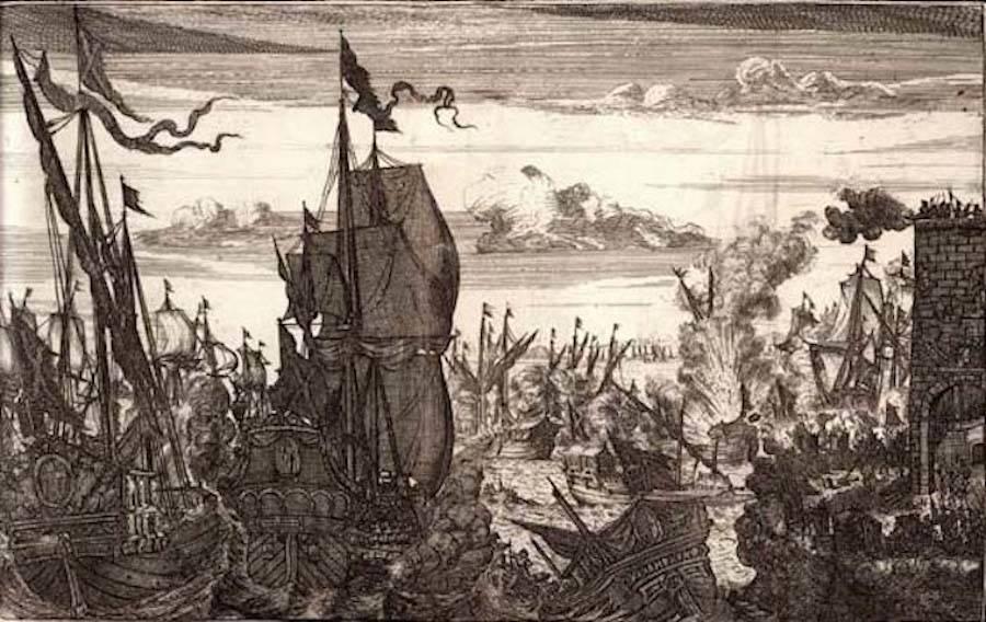 Captain Henry Morgan Attacks Spanish Fleet