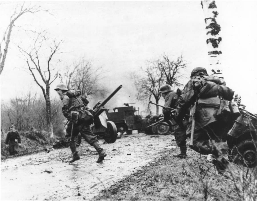 Nazi Soldiers Fighting In The Battle of the Bulge