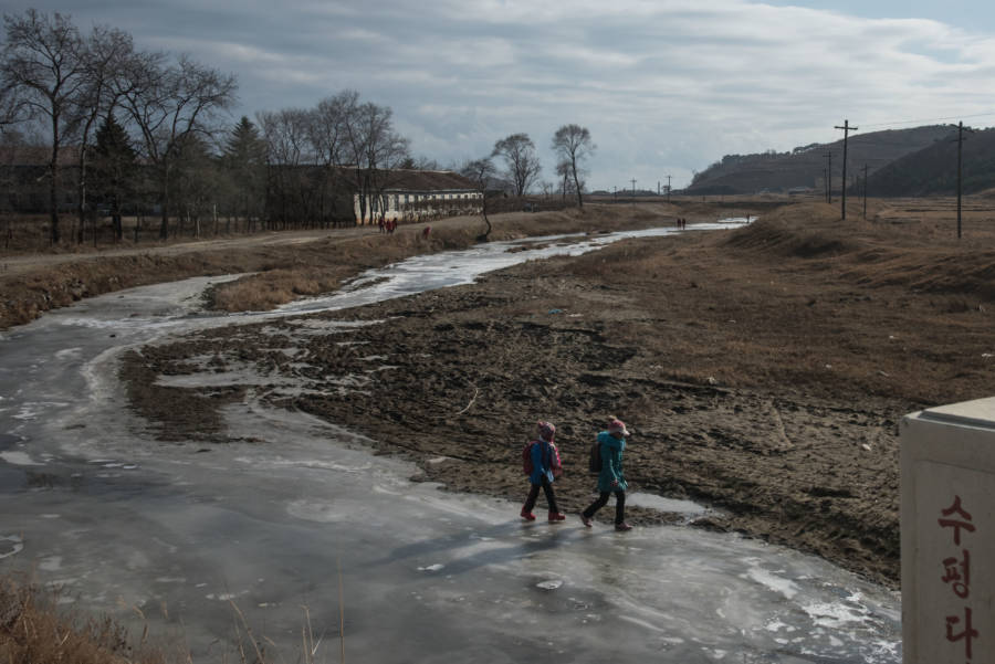 North Korea Children Ice