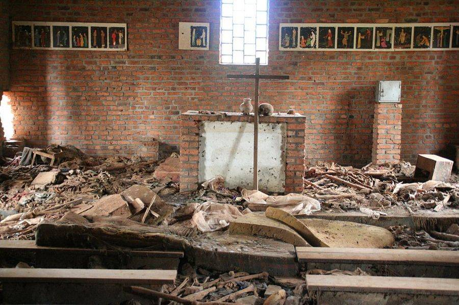 Destroyed church in from the Rwandan genocide