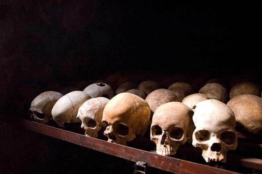 Human skulls at the Nyamata Memorial Site