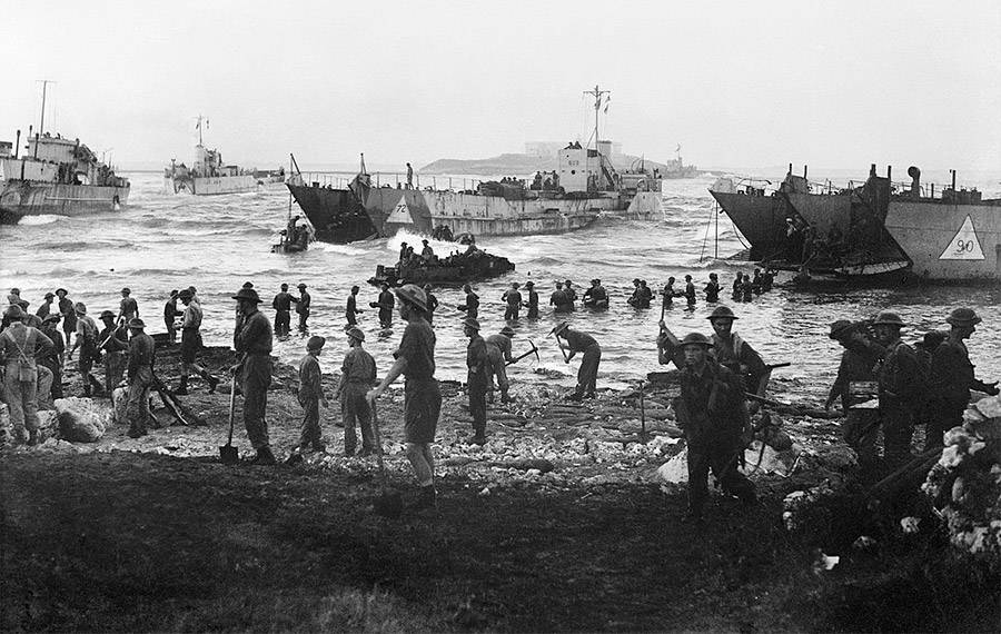 Troops on the shores during Operation Husky.