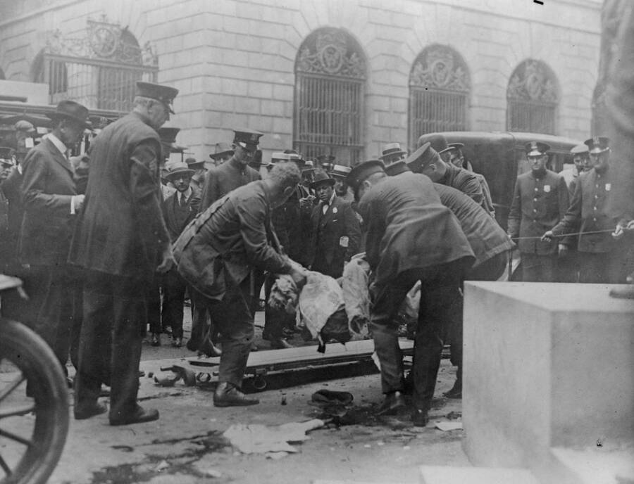 Removing A Body From The Wall Street Explosion