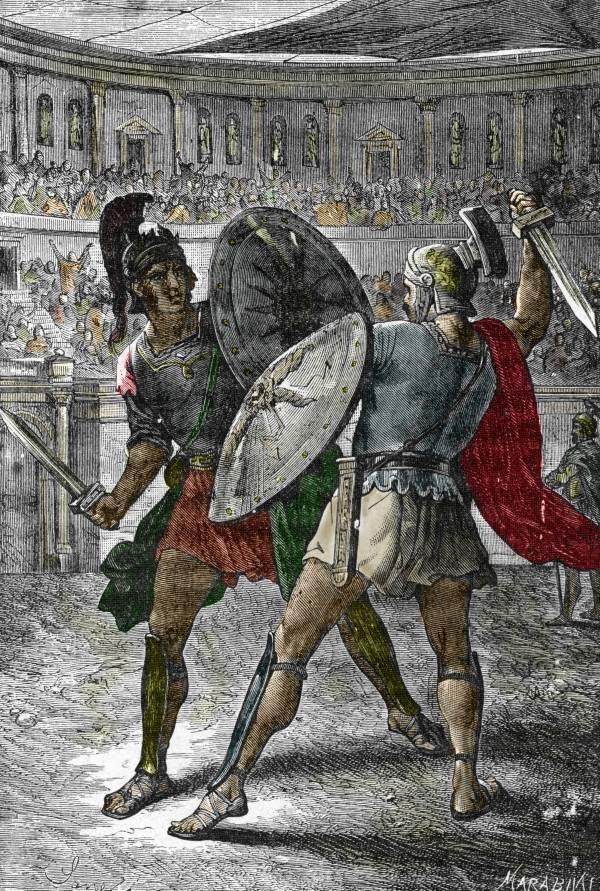 Art of Roman Emperor Commodus fighting