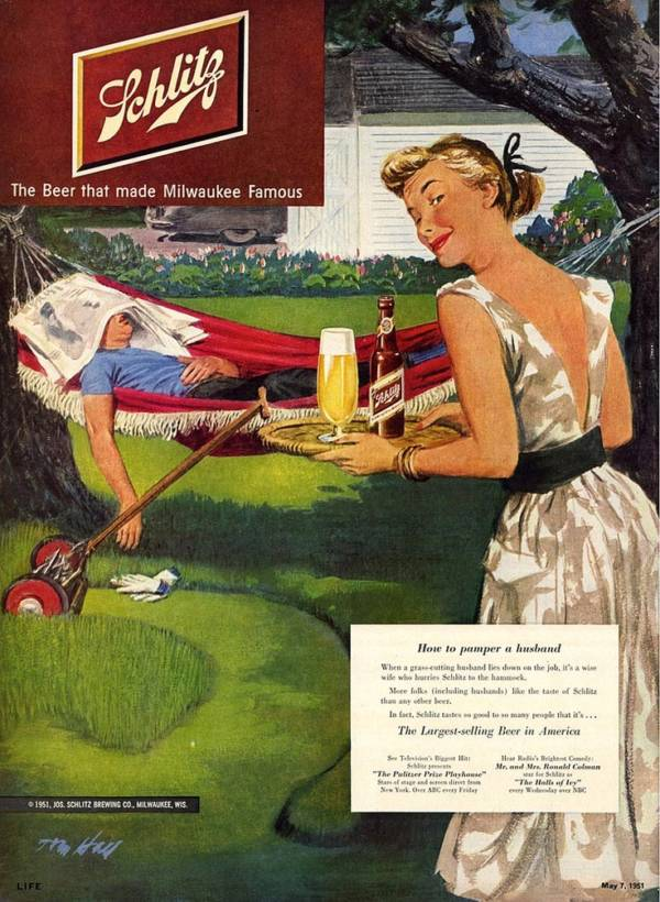 Schlitz Ad With Pampered Husband