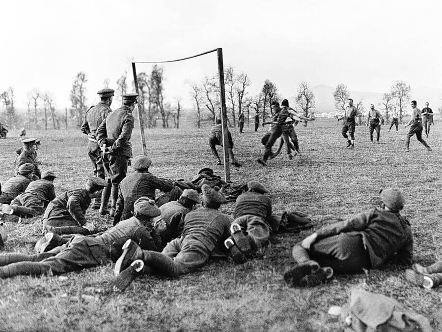 Soldiers Play Soccer