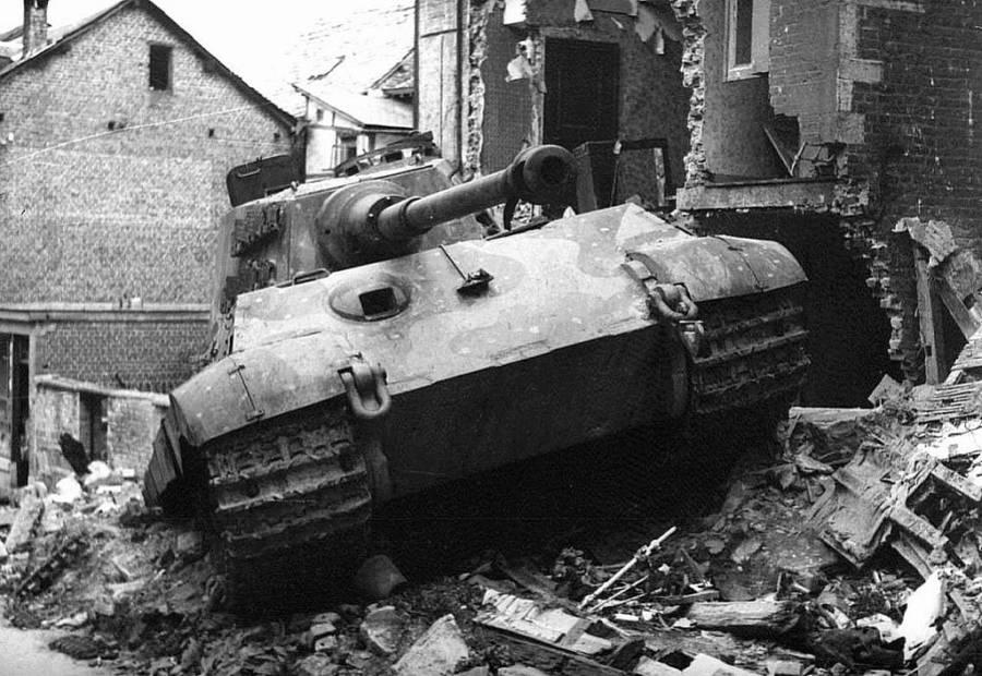 Tank crashes into a house