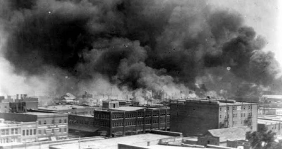 Smoke Over Black Wall Street During The Tusla Race Riot