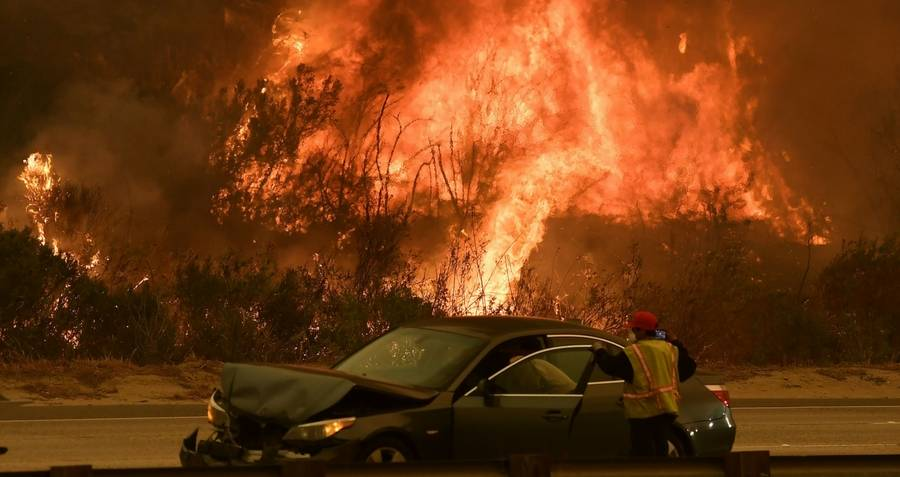 Car Amid Wildfire