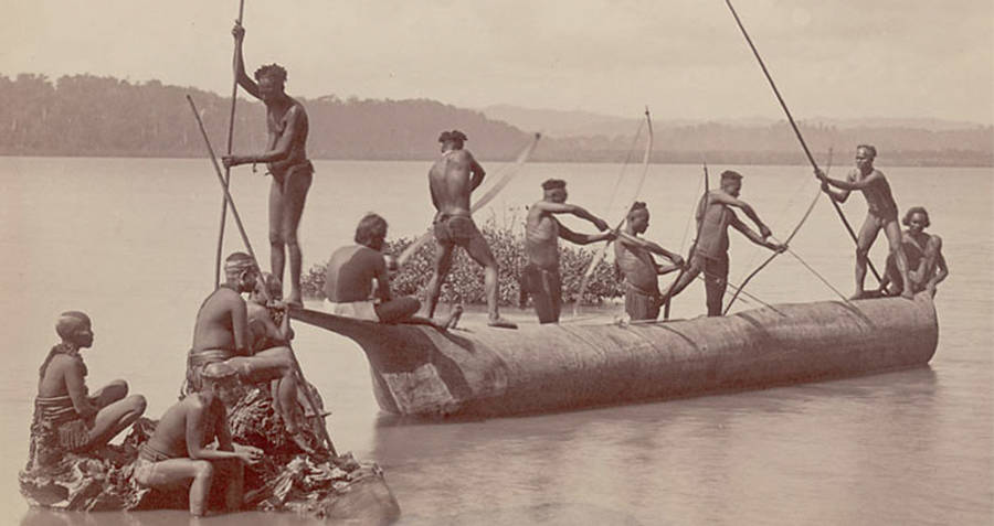 Andaman Men Working On A Boat
