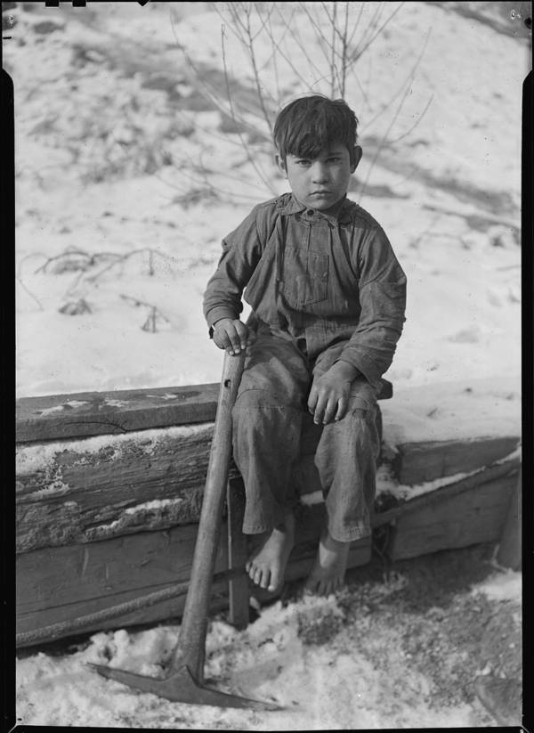 Barefoot Boy With Shovel