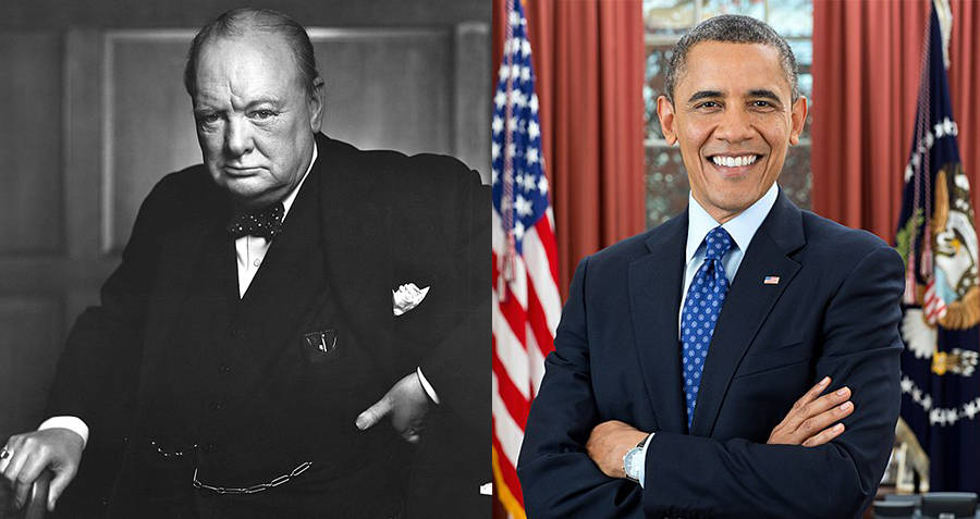 Winston Churchill and Barack Obama
