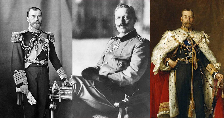 Tsar Nicholas II of Russia, Kaiser Wilhelm II of Germany, and King George V of England