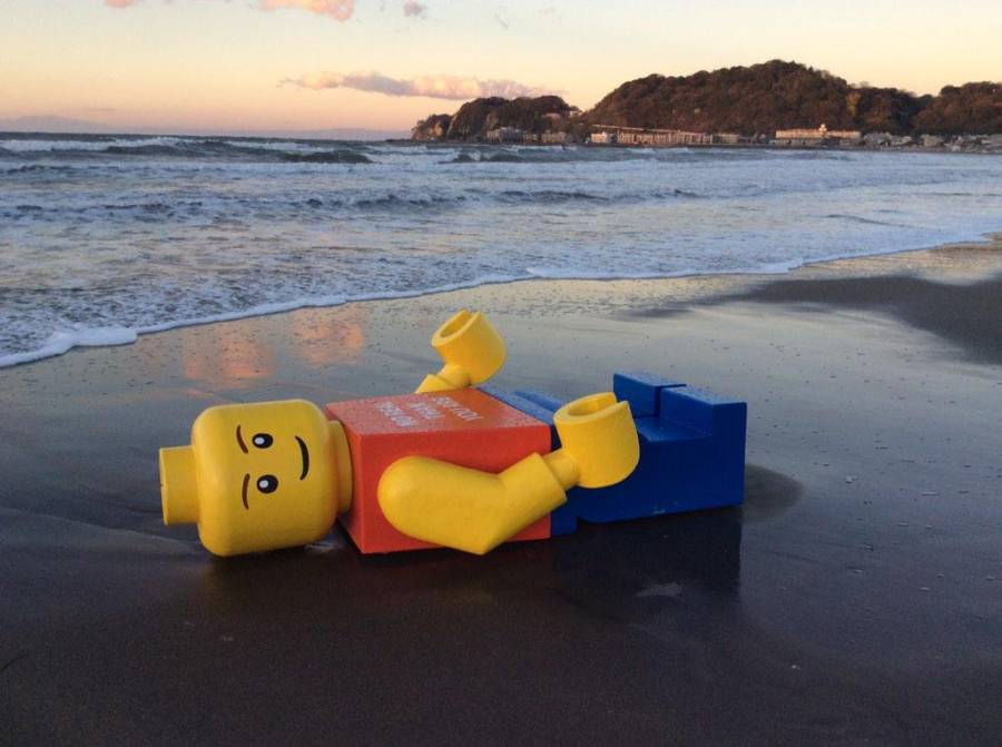 Large Lego Man On Beach