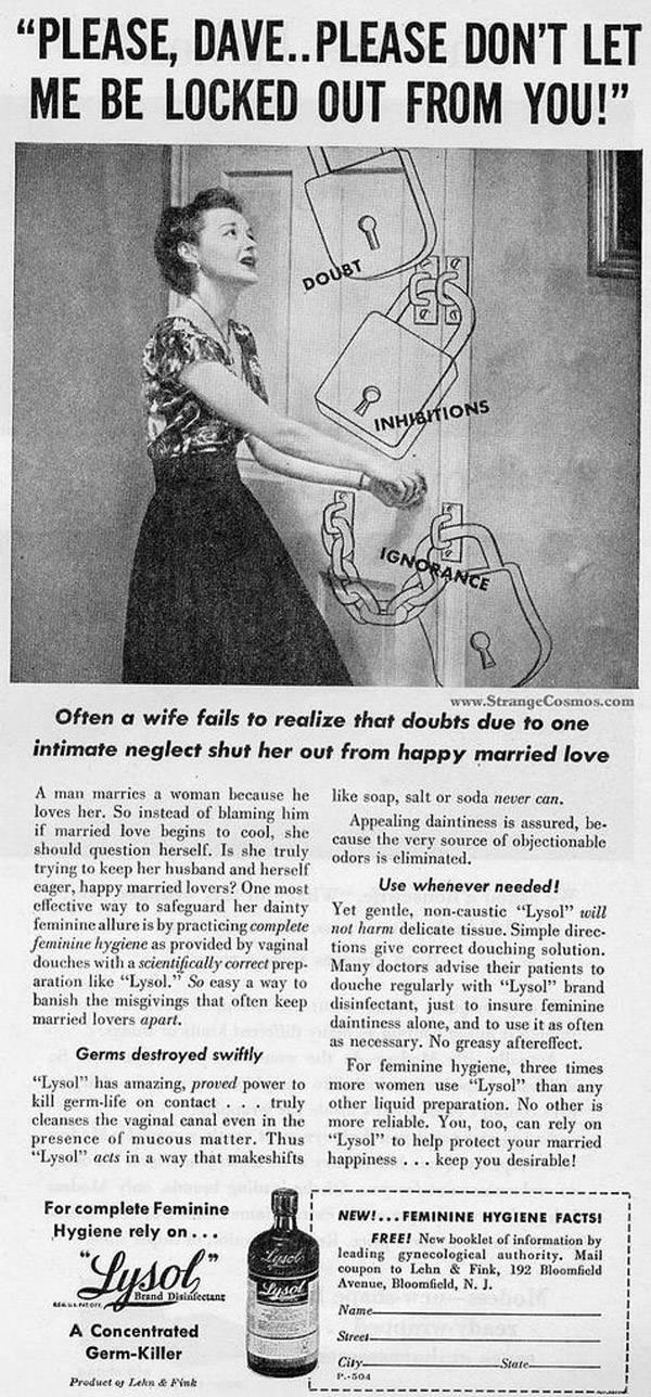 Vintage Lysol ad for feminine hygiene.