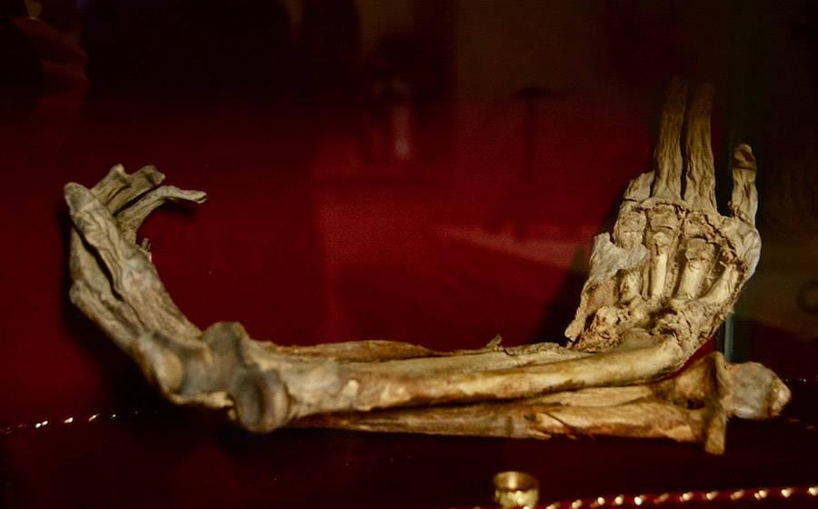 Mummified hands of Montesiepi Chapel.