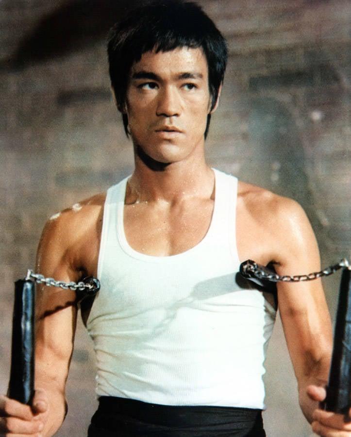 Bruce Lee photos with nunchucks