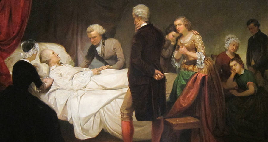 Washington on deathbed