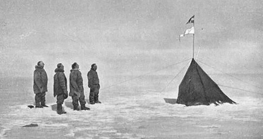 Roald Amundsen And His Crew At Their Camp